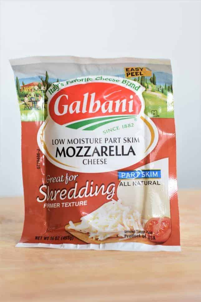 Package of mozzarella cheese