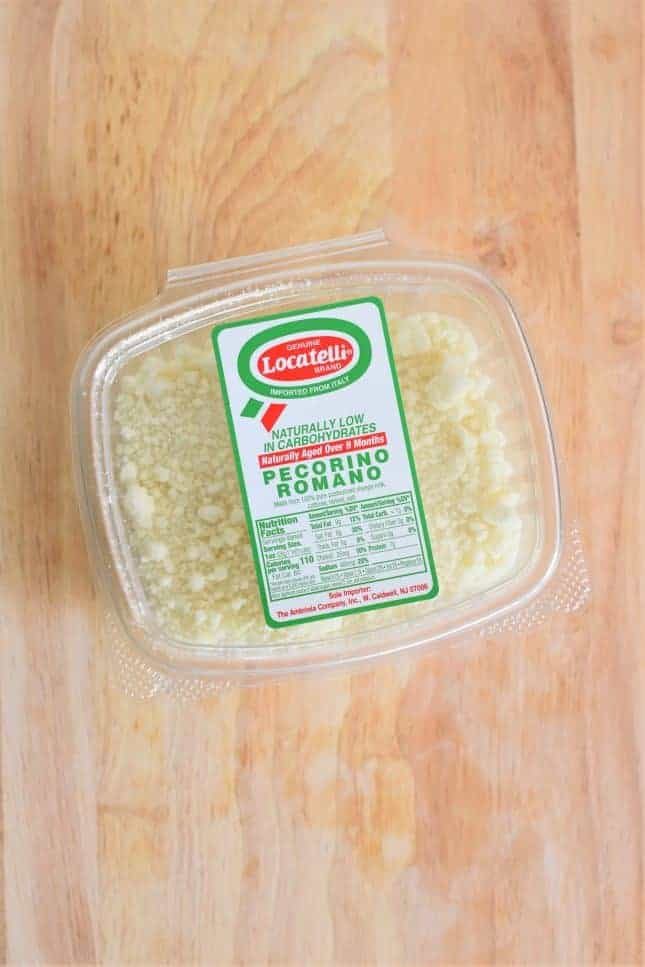 Container of pecorino ramano cheese
