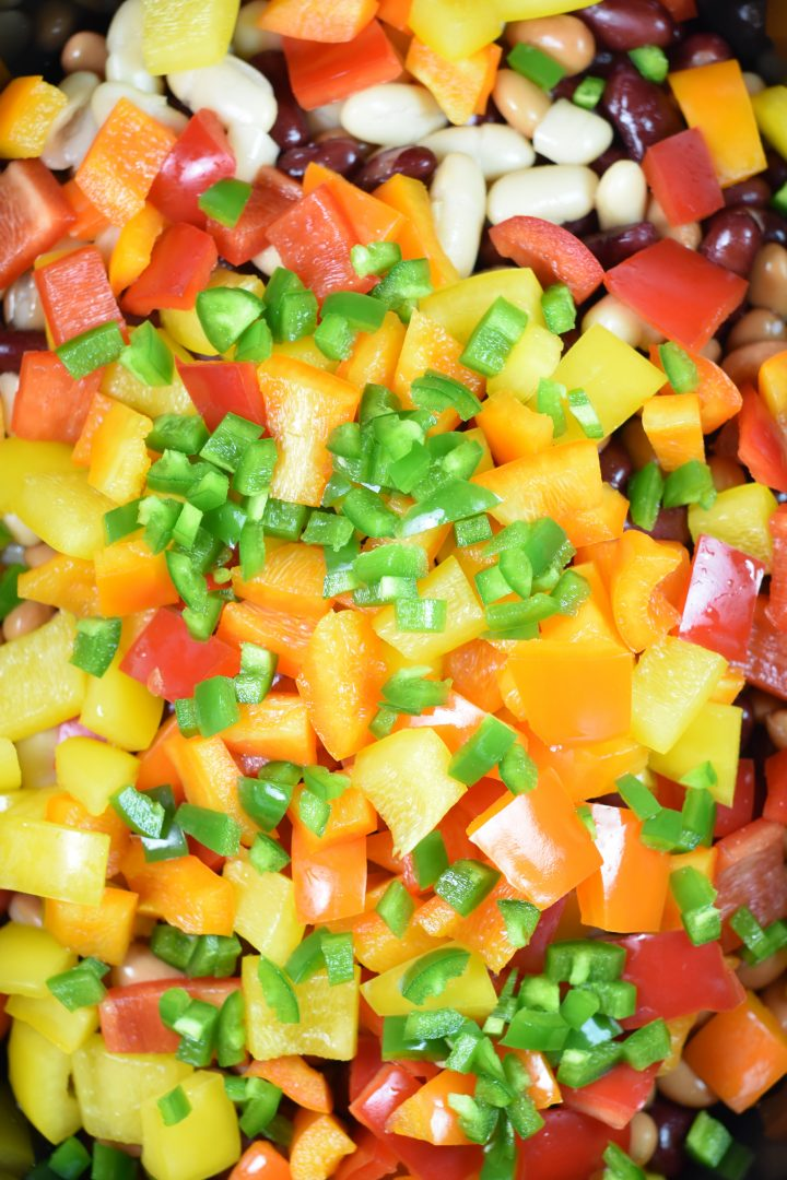 Bell peppers and jalapeno added to the slow cooker