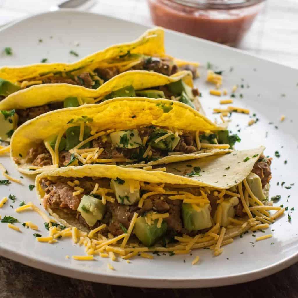 Smashed Pinto Bean Tacos | Meatless Monday [Gluten-Free, Vegetarian & with Vegan Option]