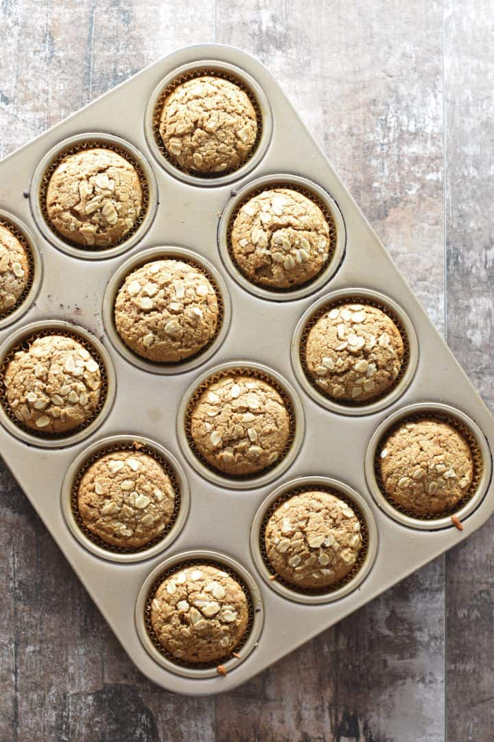 oat flour muffins baked in the muffin pan