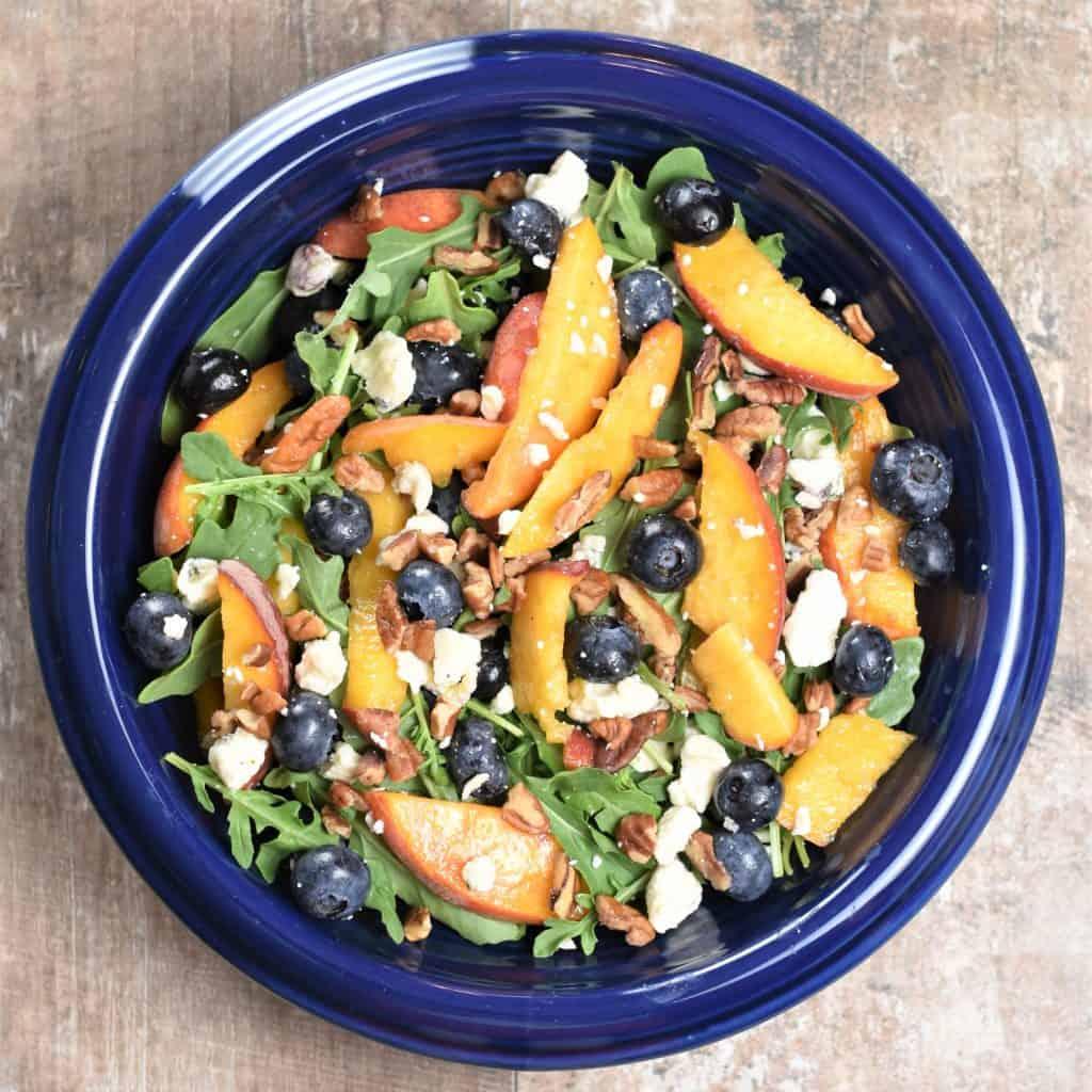 Blueberry-Peach Arugula Salad with Basic Balsamic Vinaigrette [Gluten-Free]