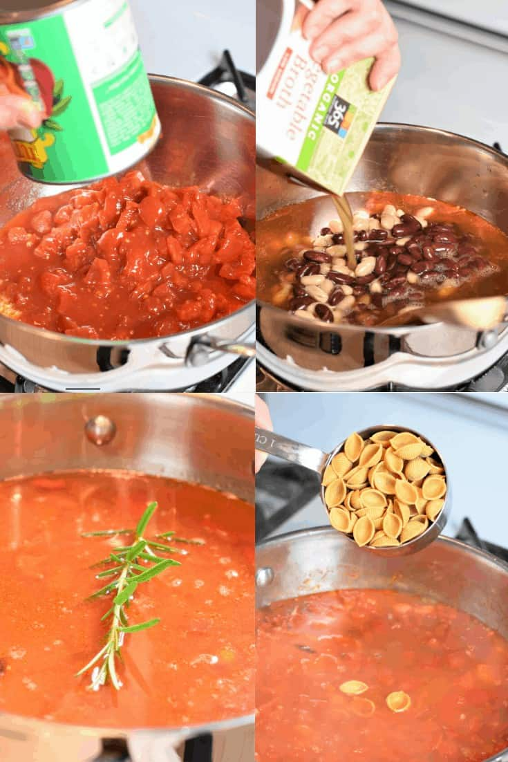 collage of steps for making the soup