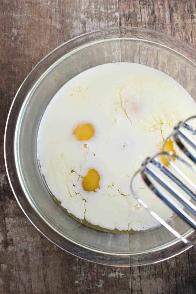 Eggs and milk in a bowl