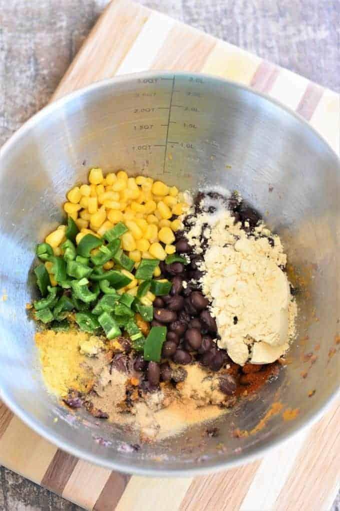 Sweet Potato Black Bean burger mixture with corn, jalapenos and seasonings