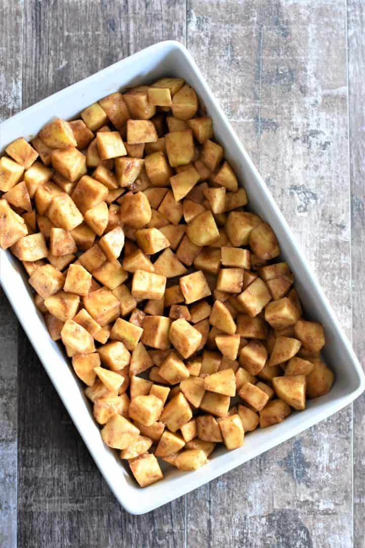 Cubed apples in a dish