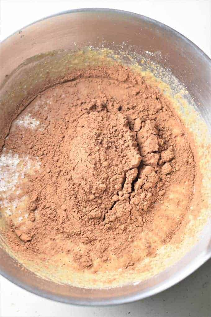 Cocoa powder added to mixing bowl