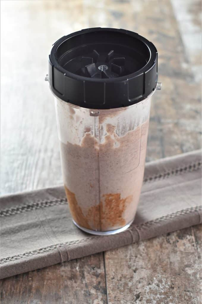 Banana Almond Butter Cacao Smoothie Blended in a Ninja Blender