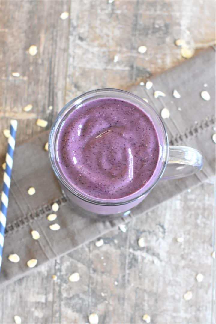 Blueberry Pie Smoothie in a glass mug