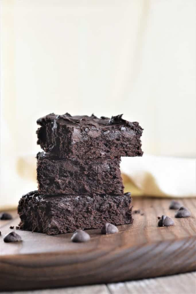 Chickpea Flour Brownies on a Wood Board