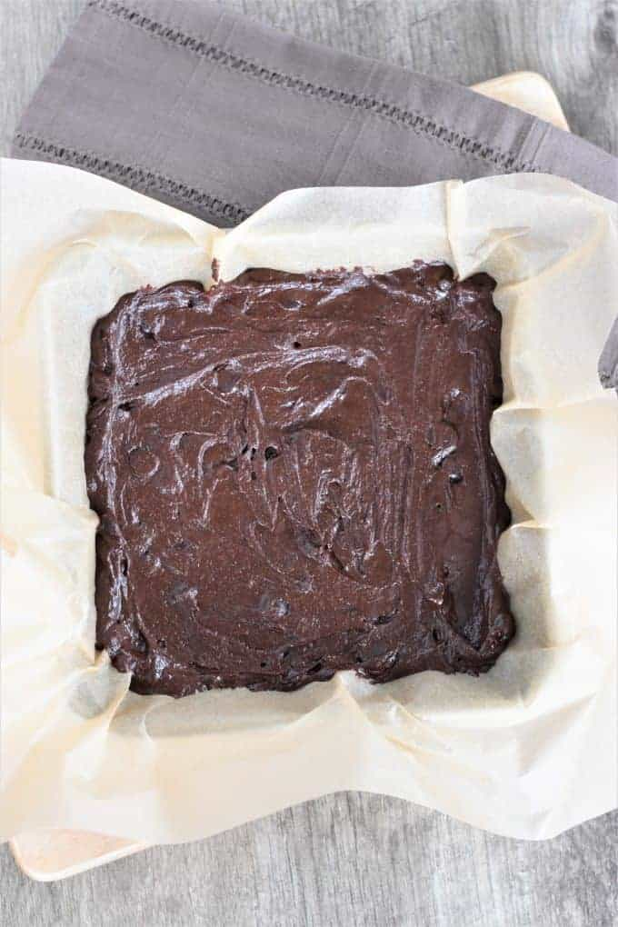brownie mix in a pan before baking