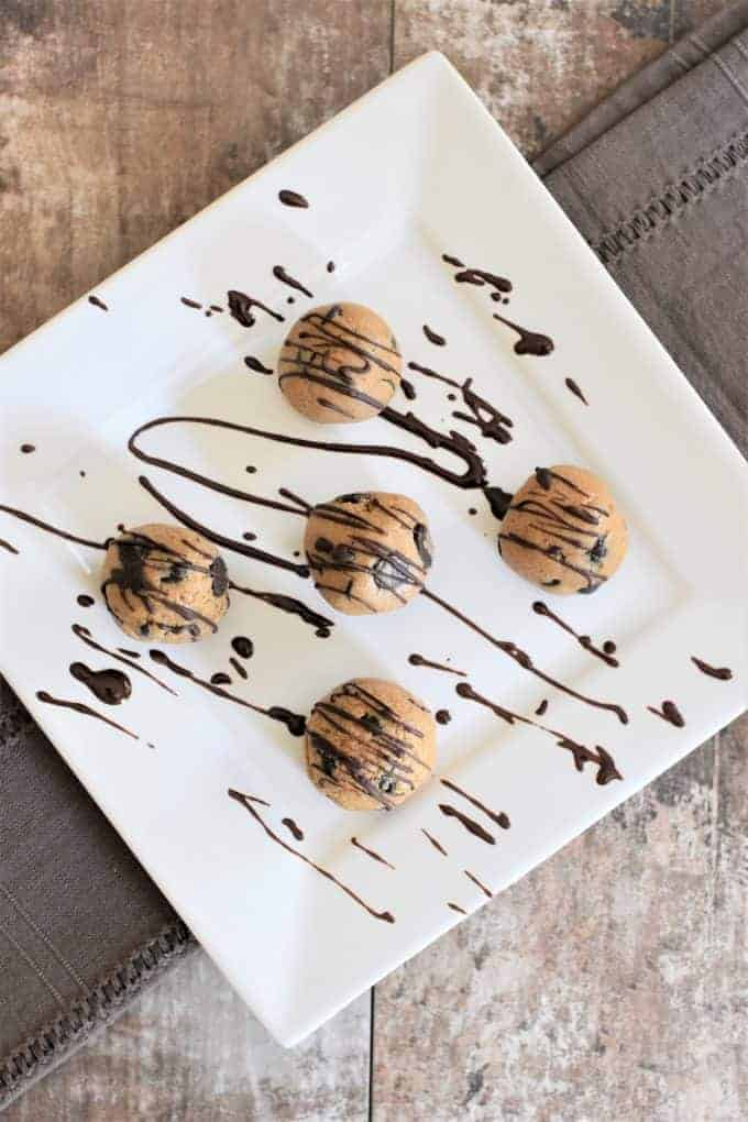 Chocolate Chip Cookie Dough Bites drizzled in chocolate