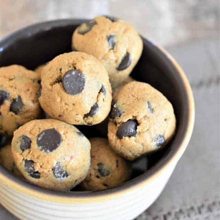 Chocolate Chip Cookie Dough Bites in a bowl