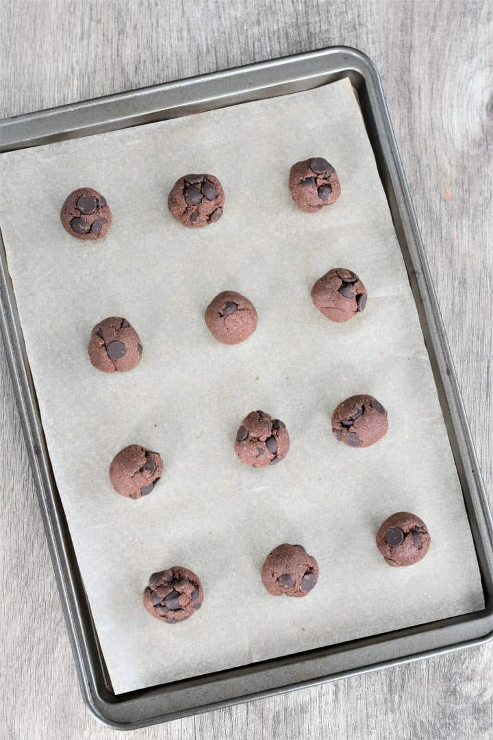 Double Chocolate Chip Cookie Dough Bites on a baking sheet