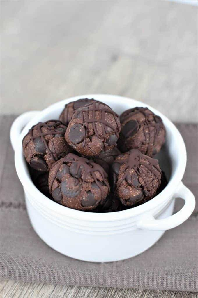 Double Chocolate Chip Cookie Dough Bites in a white dish