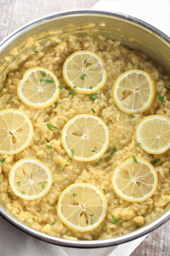 overhead of lemon risotto in a pan