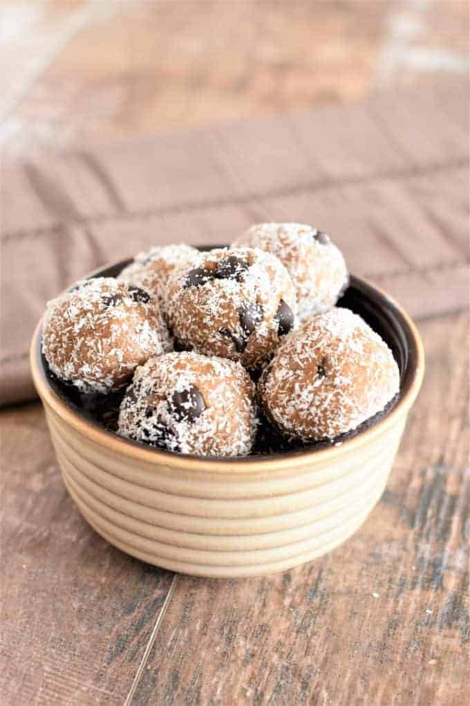 Almond Butter Cookie Dough Bites stacked in a bowl