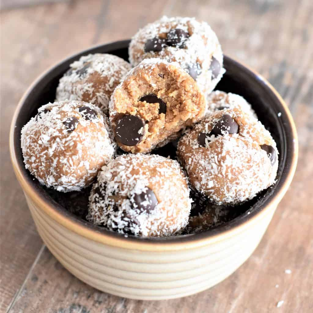 Almond Butter Cookie Dough Bites in a bowl