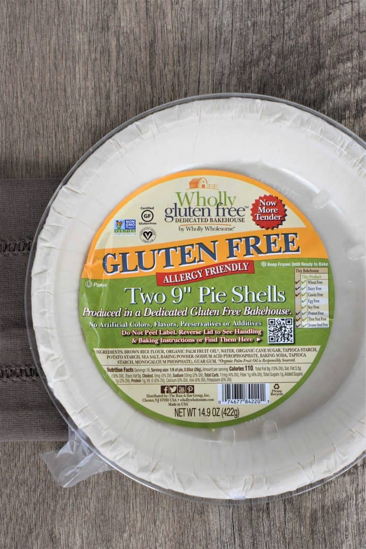 Gluten free pie shells in a package