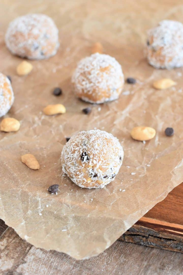 Peanut butter balls on parchment paper