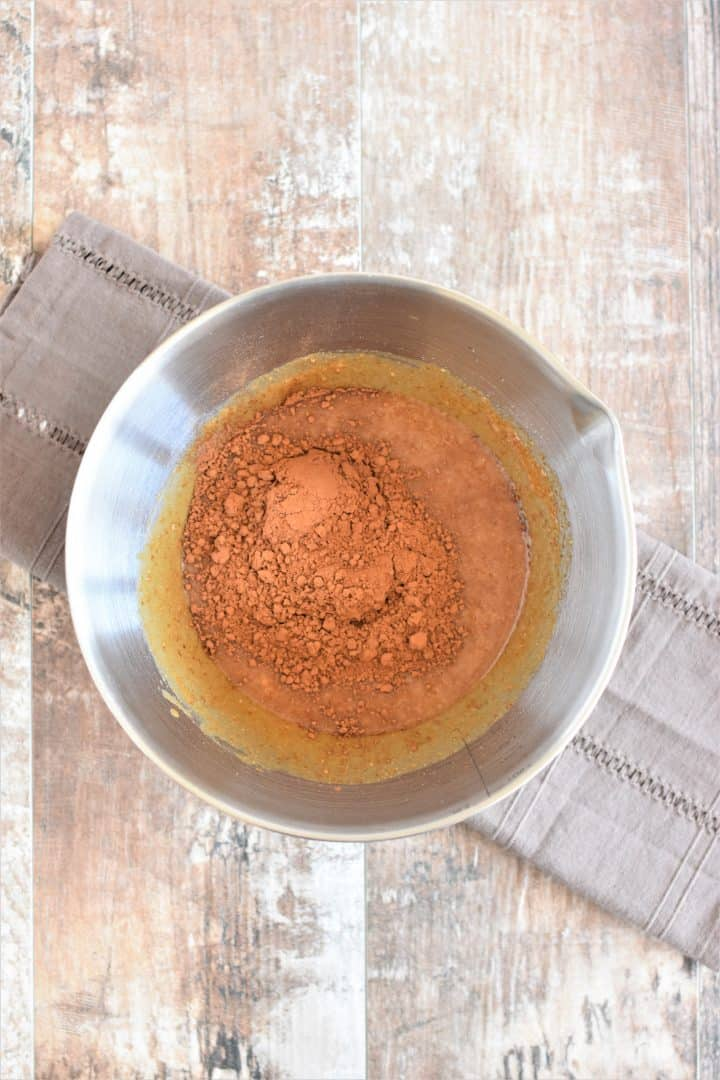 Cocoa powder in a mixing bowl