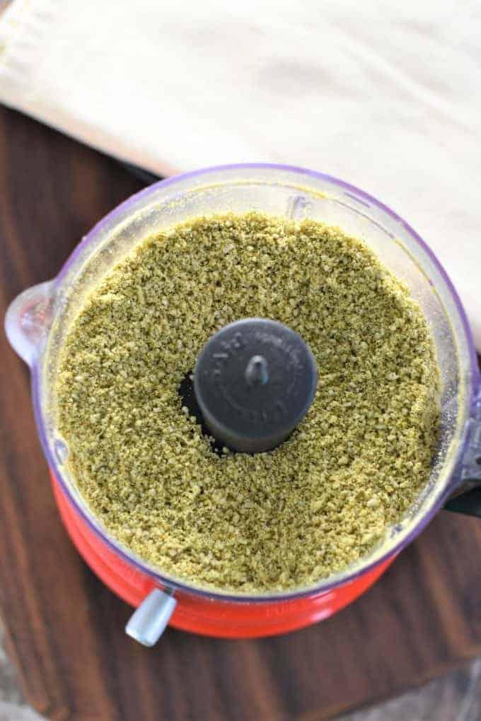Vegan Parmesan Cheese ingredients in a food processor