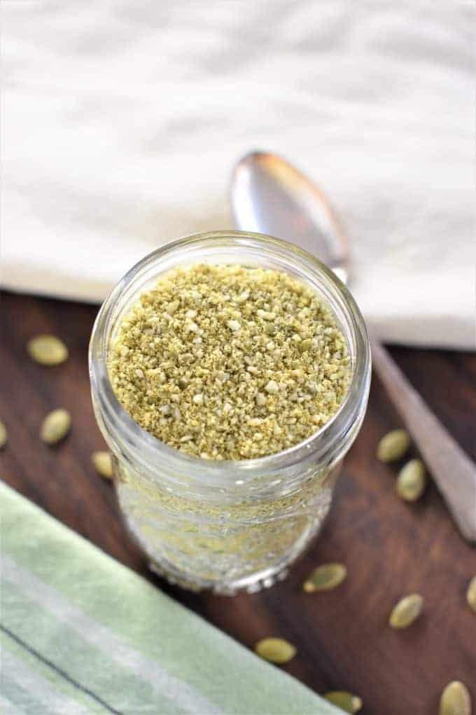 Vegan Parmesan Cheese in a glass jar