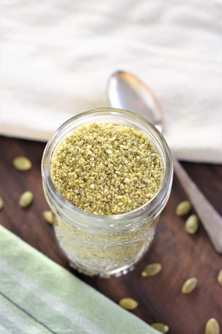 Vegan Parmesan Cheese in a glass jar