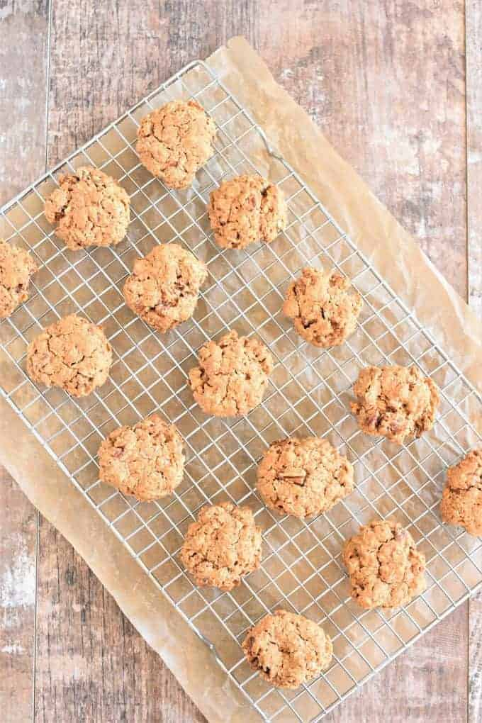 Oat Flour Cookies on a cooling rack