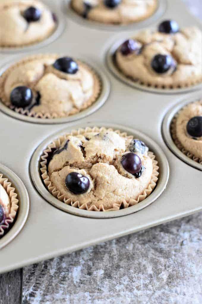 Closeup of muffins in muffin pan