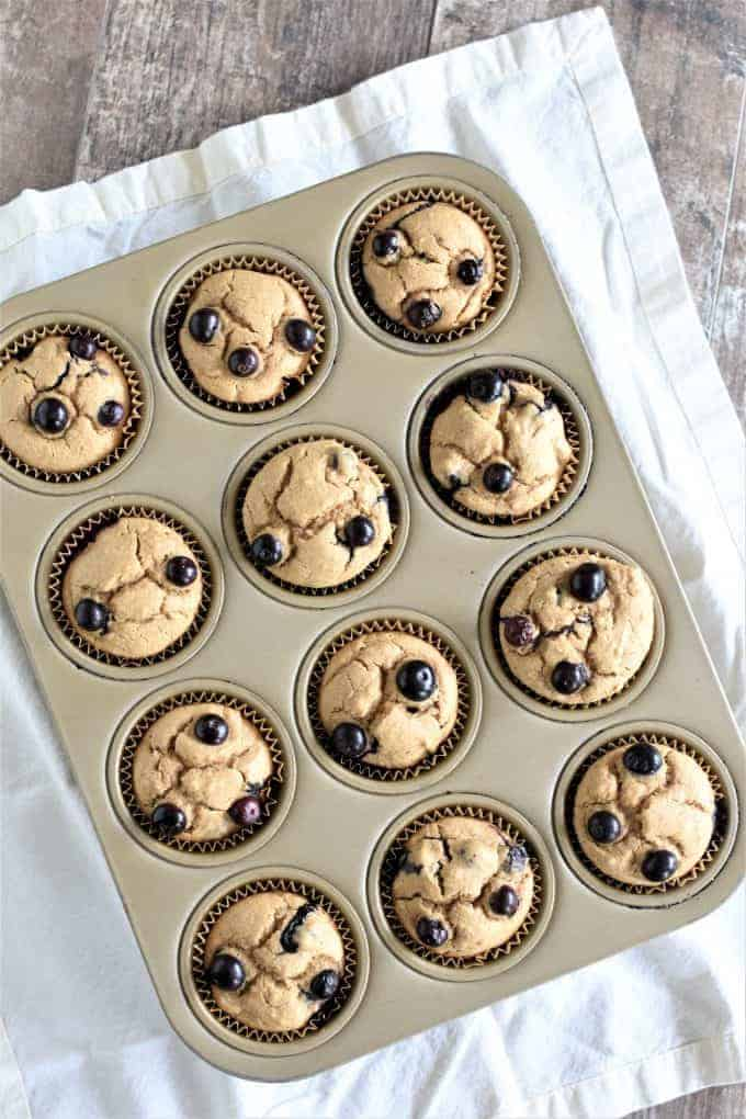 Overhead of baked muffins in tin