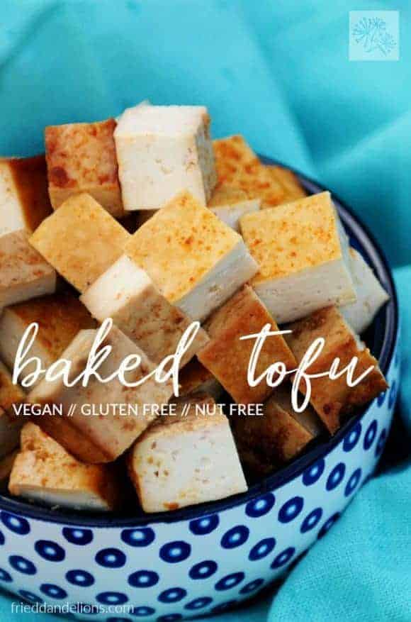 Baked tofu pieces in a bowl