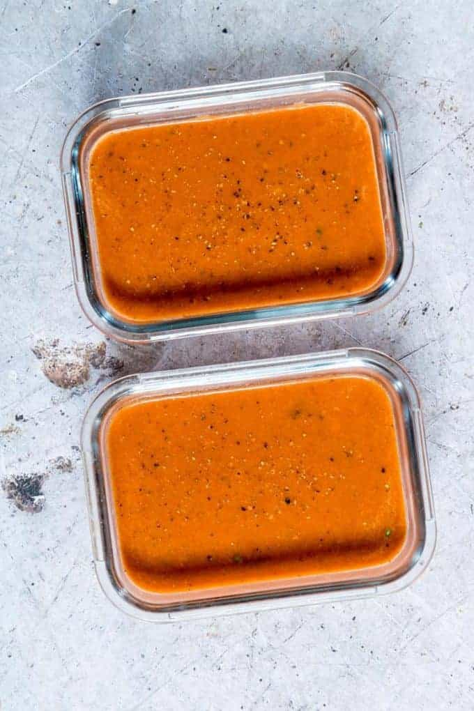 Tomato soup in glass containers