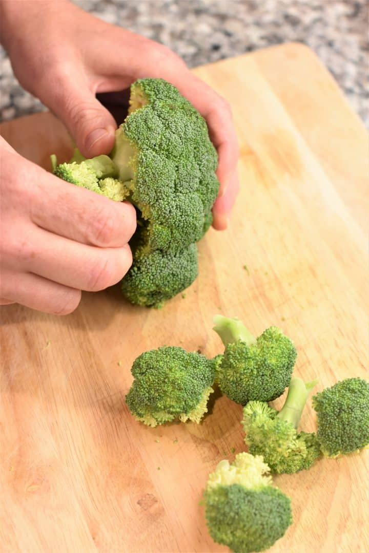 pulling broccoli florets off head of broccoli