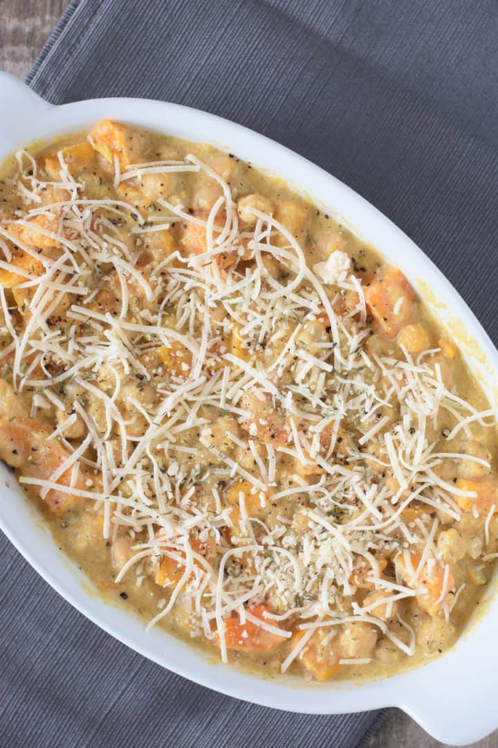 Vegan Parmesan Cheese added to top of casserole
