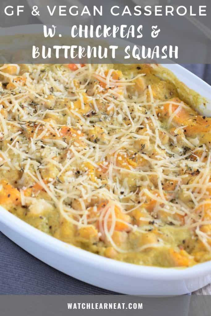 pin showing cooked chickpea and butternut squash casserole