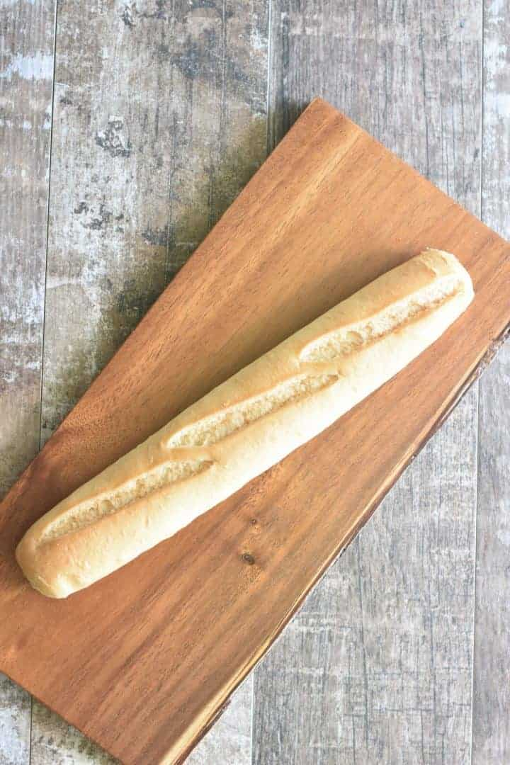 baguette on a cutting board