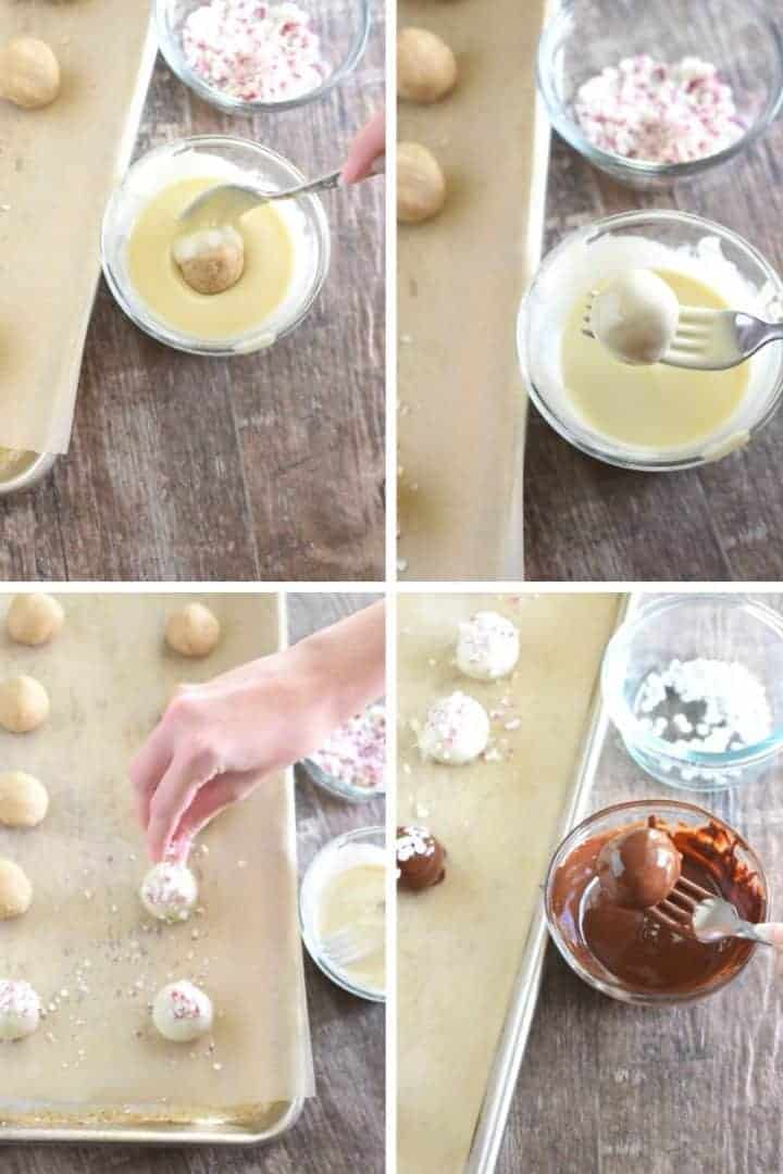 collage of how to dip the dough balls into the chocolate and sprinkle with toppings