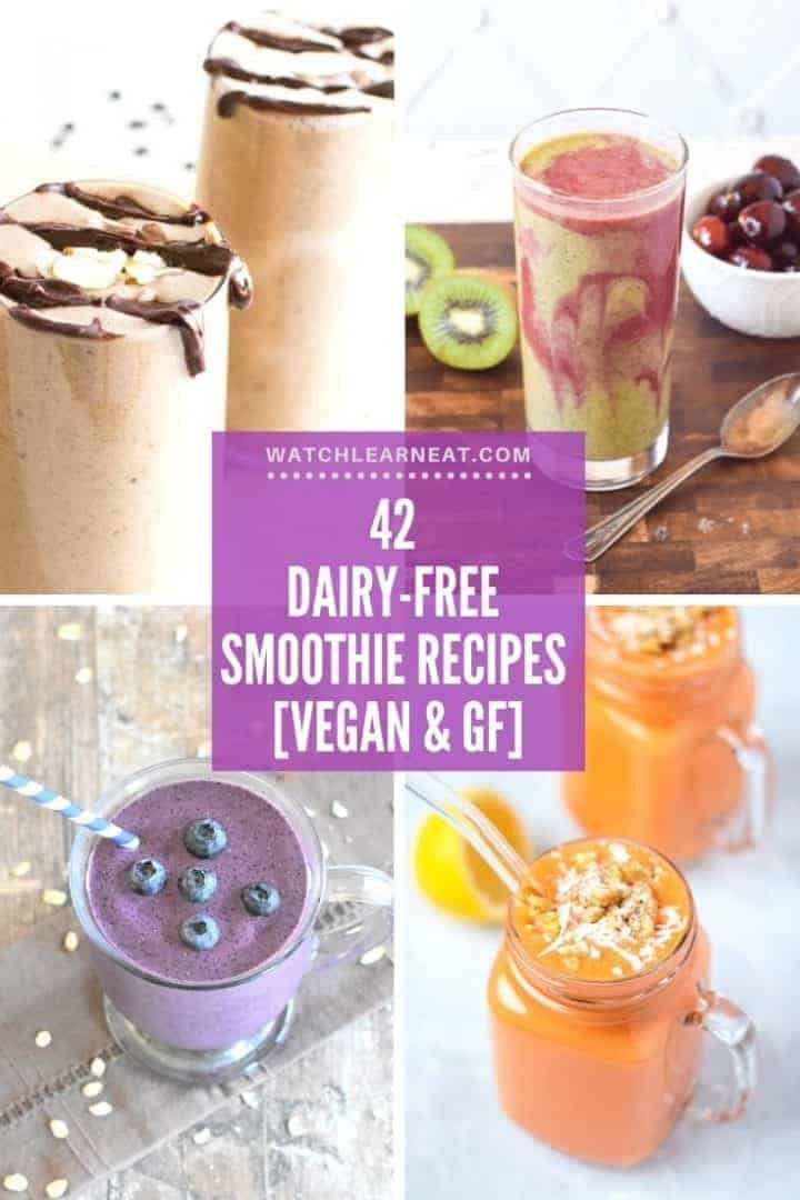 collage of 4 of the 42 dairy-free smoothie recipes