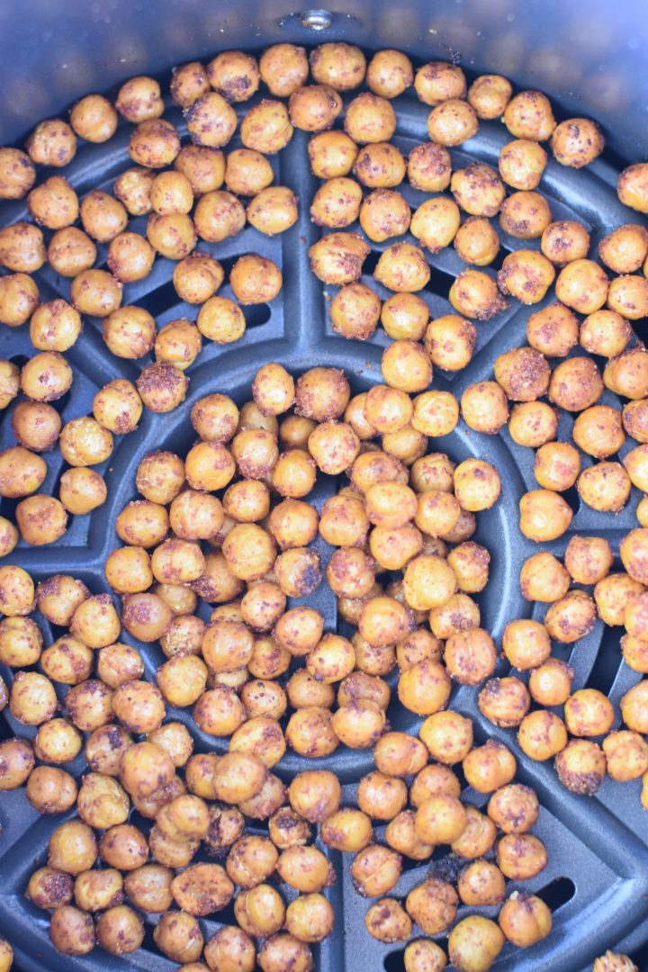 BBQ chickpeas in air fryer after cooking