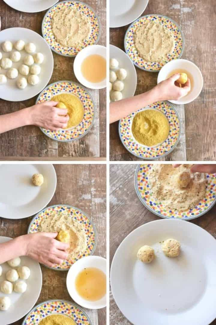 Collage showing how to coat potato balls in nutritional yeast, aquafaba and bread crumbs