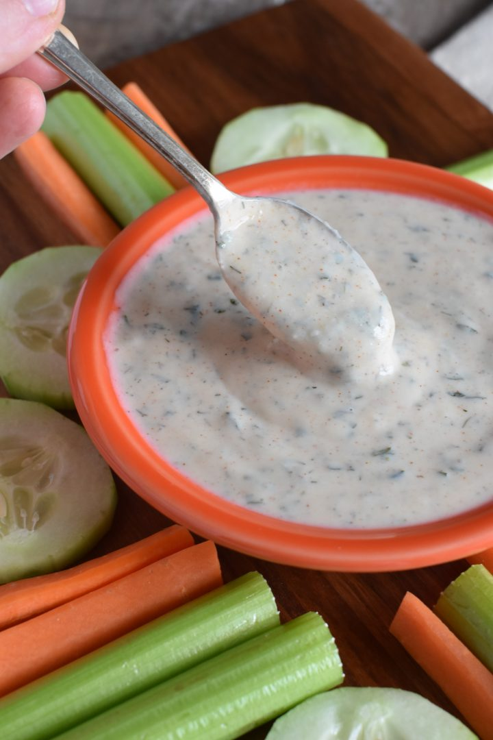 A spoonful of some of the ranch dip
