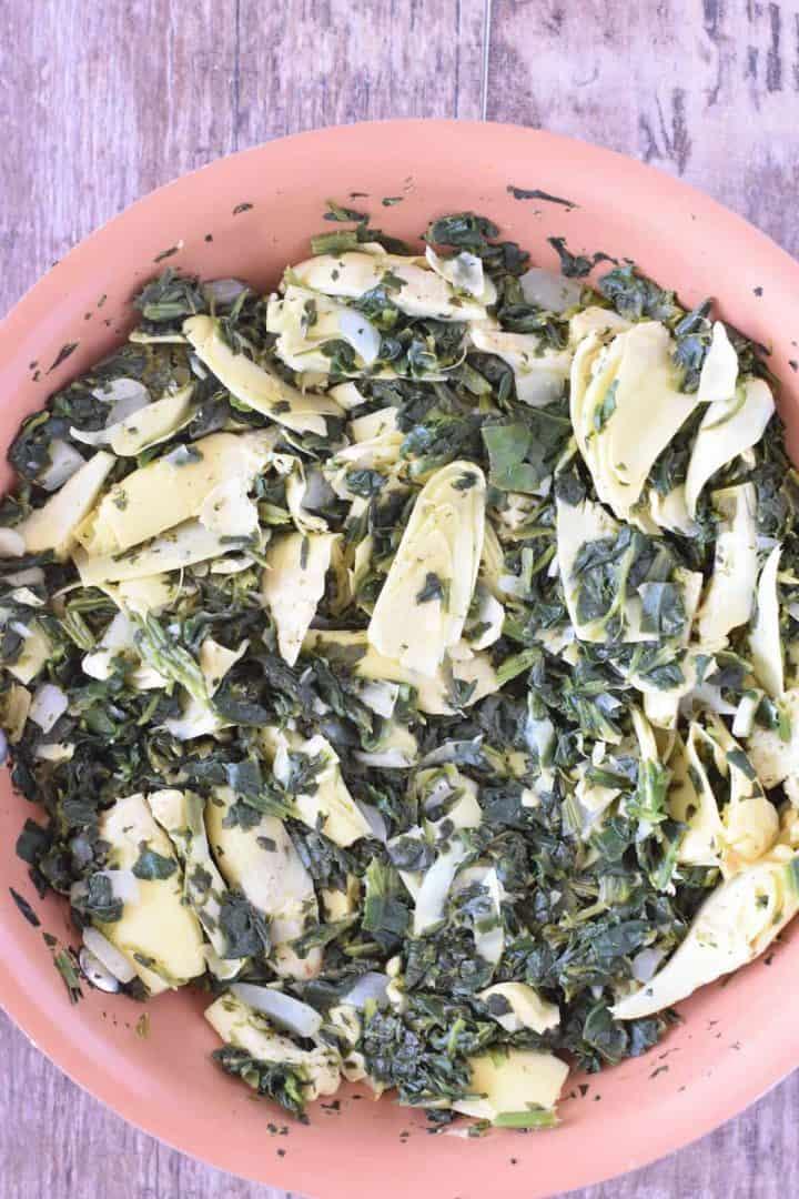 Sauteed veggies in the pan