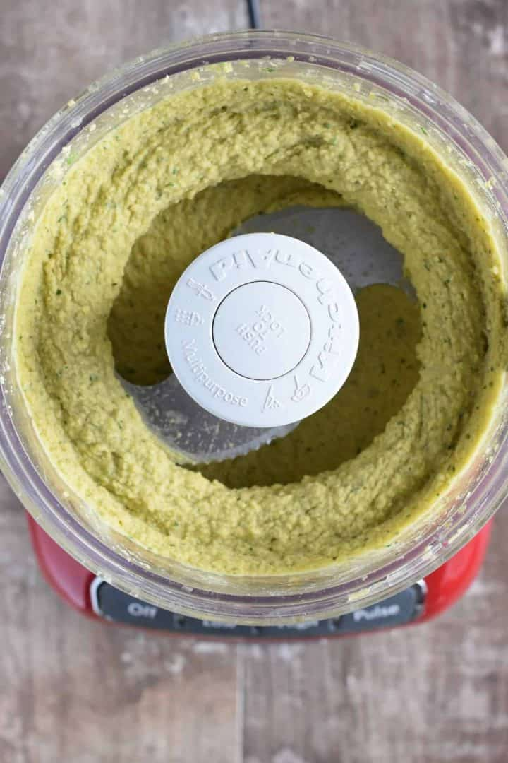 hummus ingredients blended together in food processor