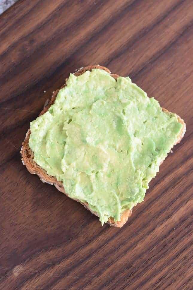 Avocado spread onto toast