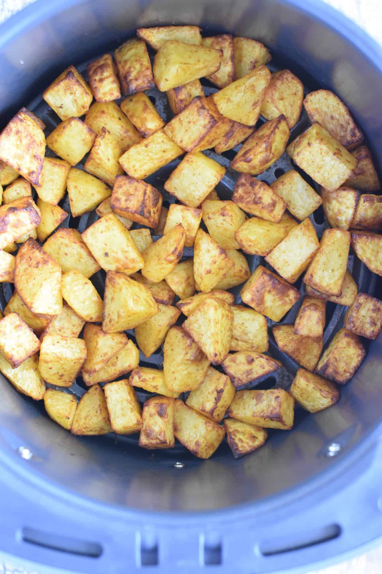 Potatoes in the air fryer after cooking