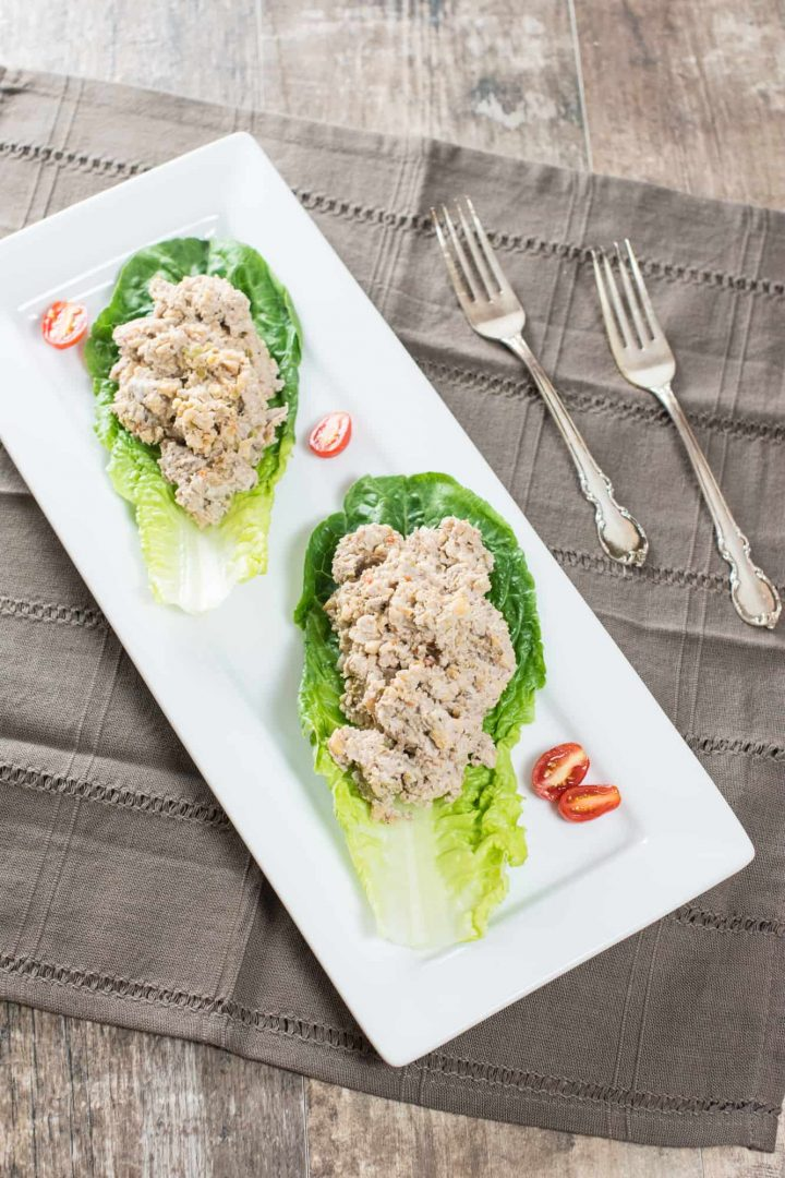 chickpea salad on lettuce wraps