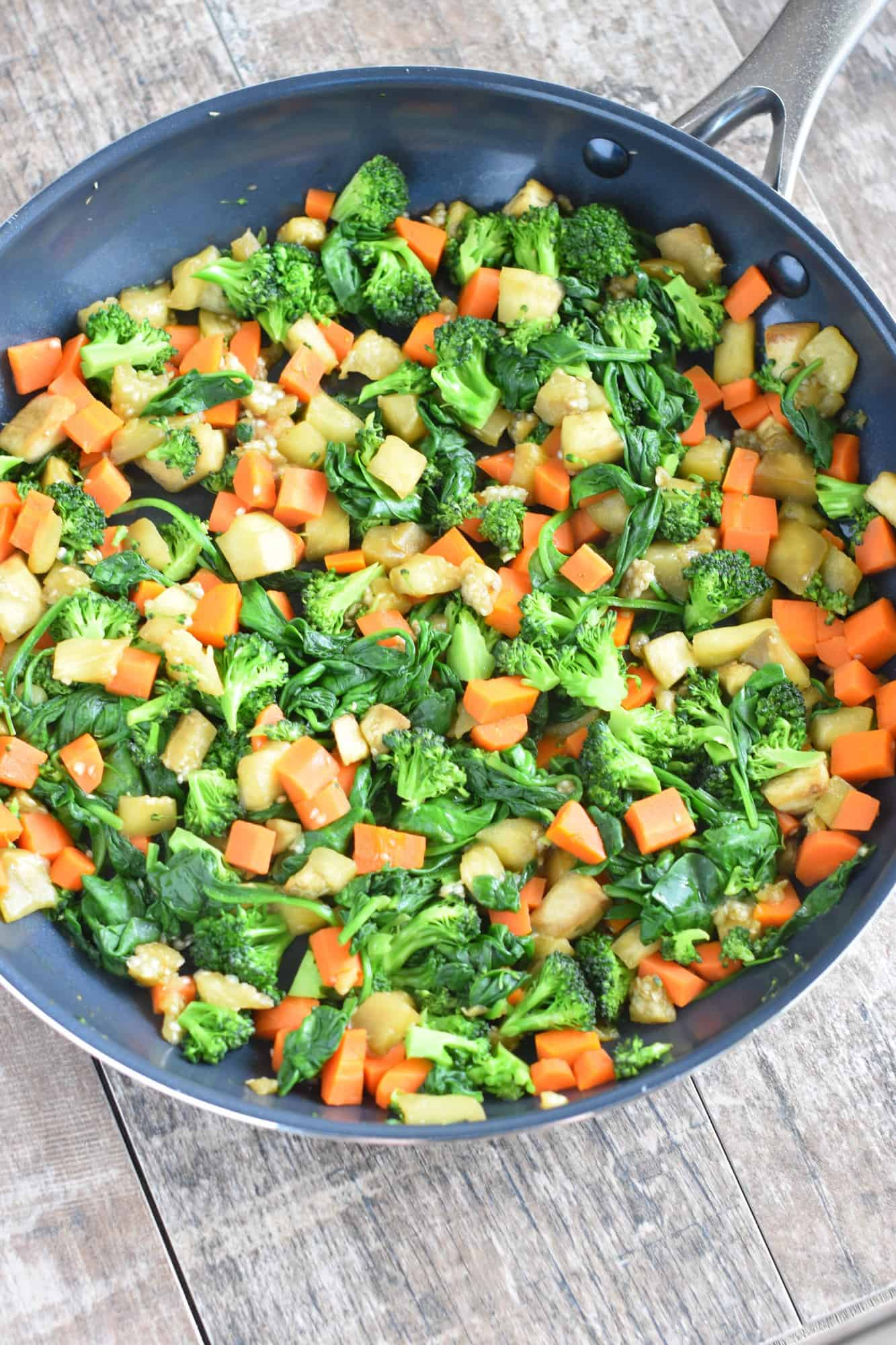 Cooked veggies in skillet