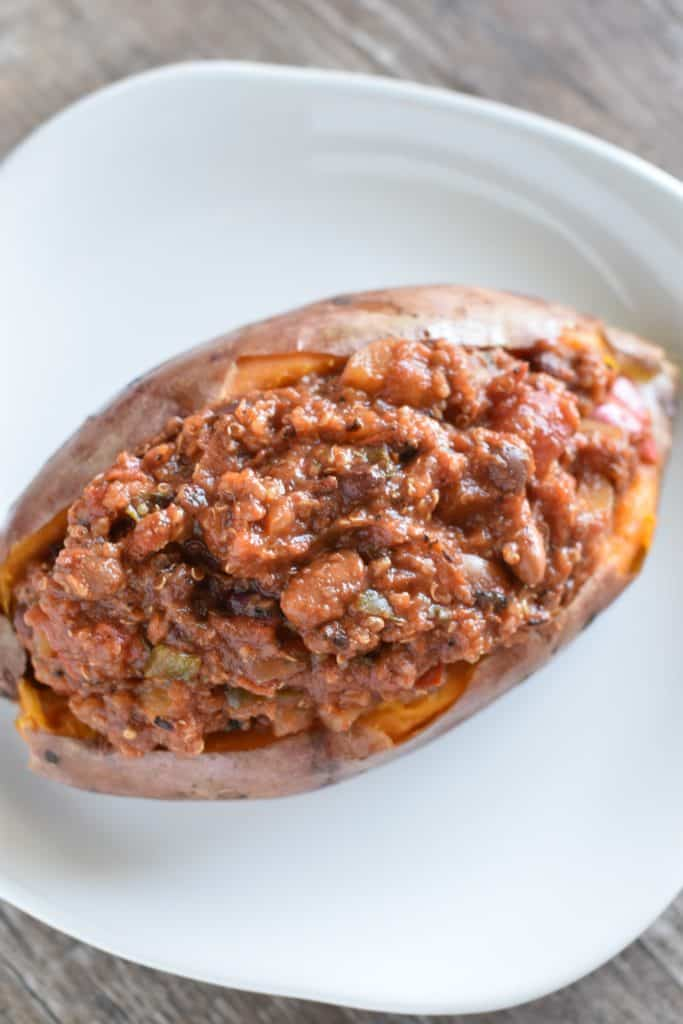 cooked sweet potato filled with chili