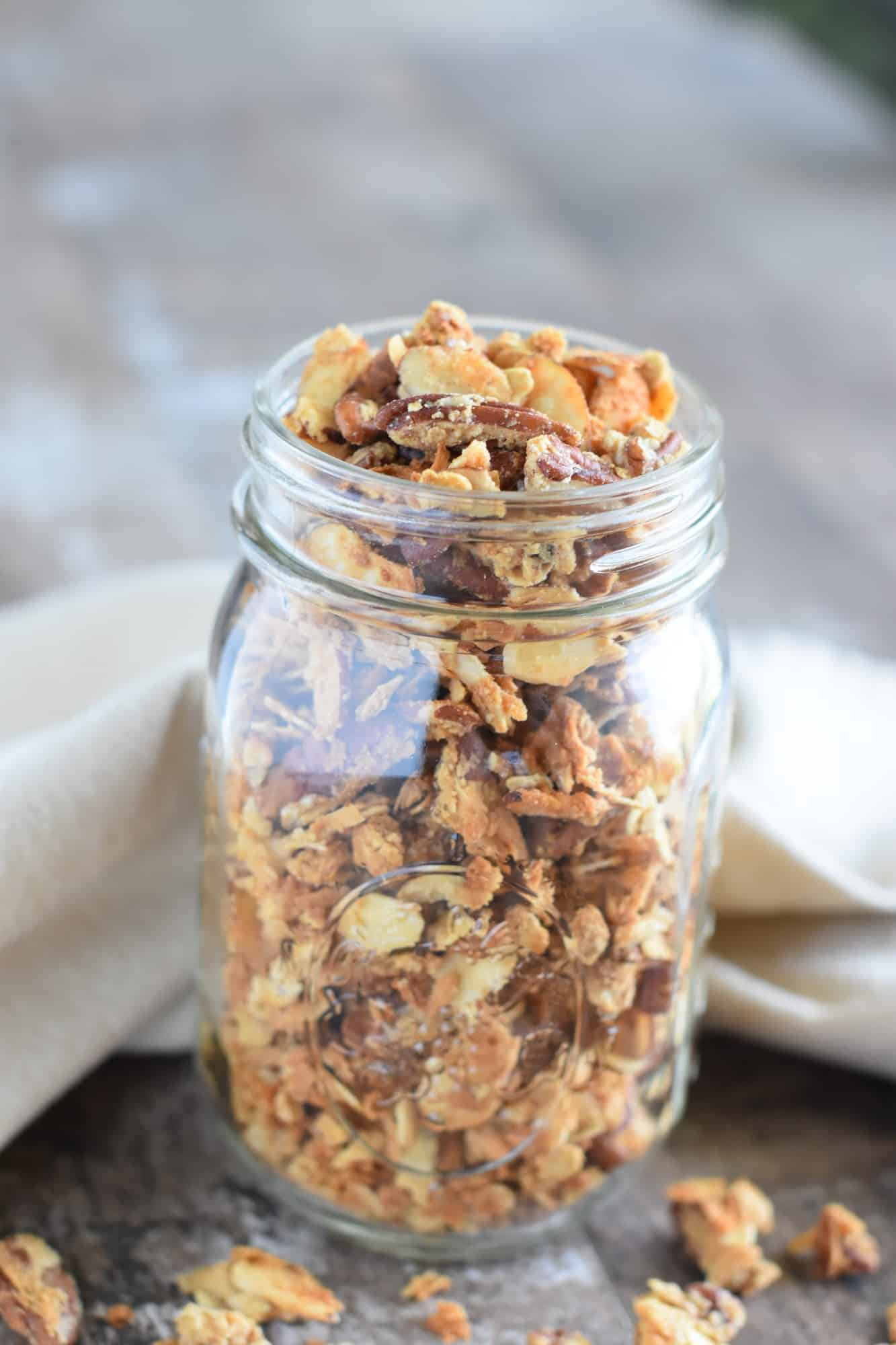 front view of mason jar of granola